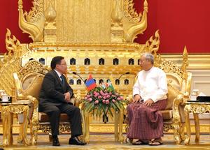 Presidents of Mongolia and Myanmar hold official negotiations