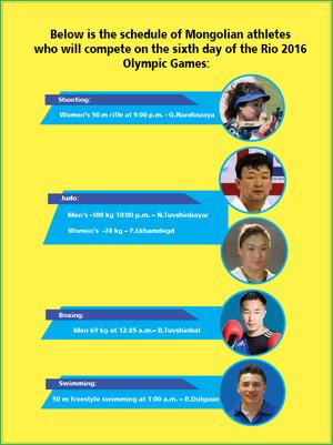 Mongolian athletes' schedule on Day 6 of the Rio 2016